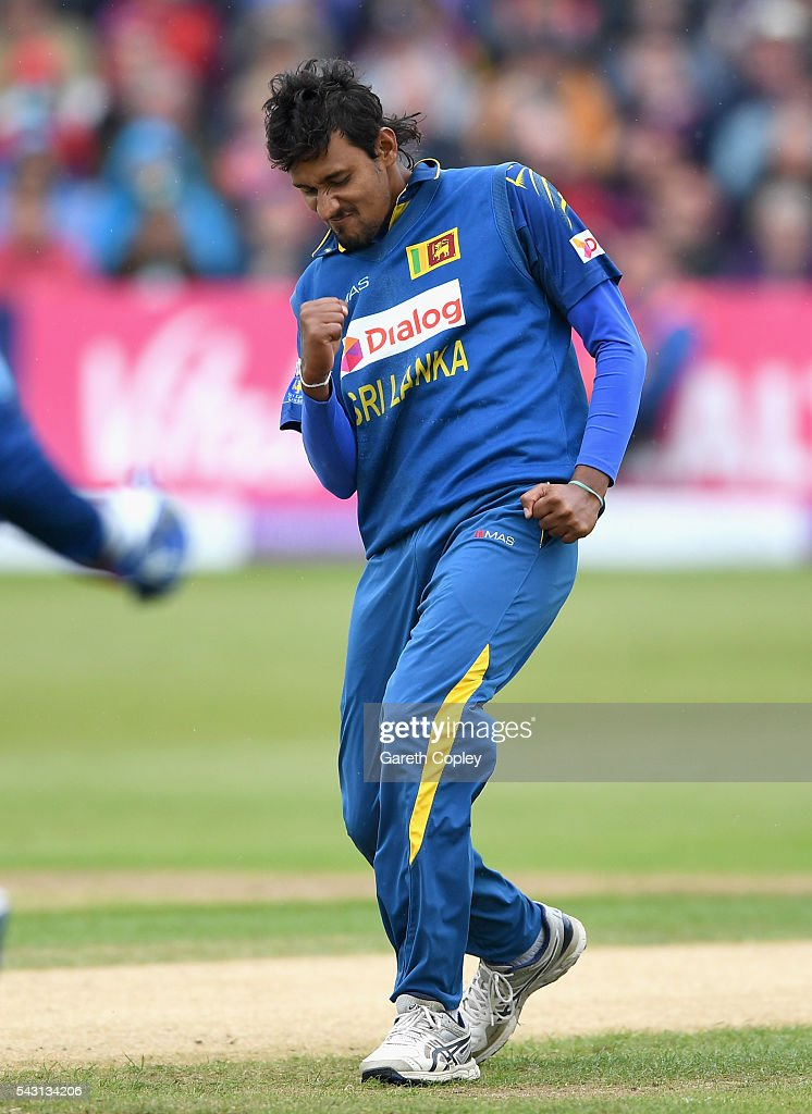 Suranga Lakmal of Sri Lanka celebrates dismissing Alex Hales of England during the 3rd ODI Royal London One Day International match between England and Sri Lanka at The County Ground on June 26, 2016 in Bristol, England.