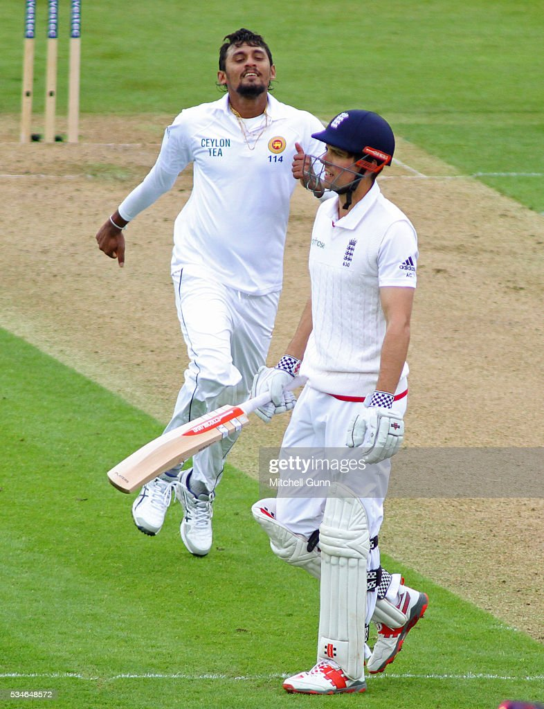 Suranga Lakmal of Sri Lanka celebrates taking the wicket of Alastair Cook of England during day one of the 2nd Investec Test match between England and Sri Lanka at Emirates Durham ICG on May 27, 2016 in Chester-le-Street, United Kingdom.