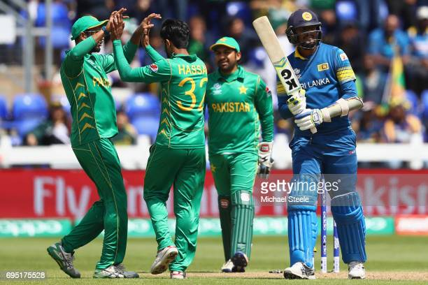 Suranga Lakmal of Sri Lanka heads to the pavillion after being bowled by Hasan Ali of Pakistan during the ICC Champions Trophy match between Sri...