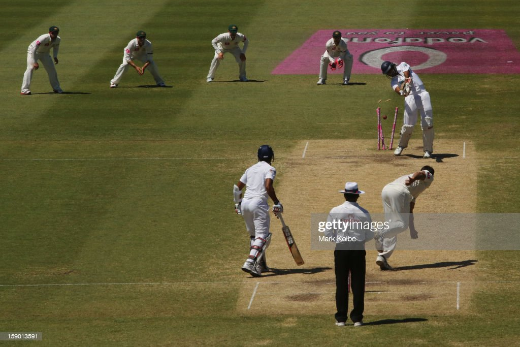 <a gi-track='captionPersonalityLinkClicked' href=/galleries/search?phrase=Suranga+Lakmal&family=editorial&specificpeople=5742345 ng-click='$event.stopPropagation()'>Suranga Lakmal</a> of Sri Lanka of Sri Lanka is bowled by Mitchell Johnson of Australia during day four of the Third Test match between Australia and Sri Lanka at Sydney Cricket Ground on January 6, 2013 in Sydney, Australia.
