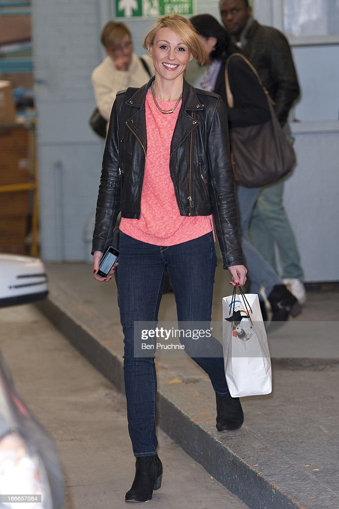 Suranne Jones sighted departing ITV Studios on April 15, 2013 in London, England.
