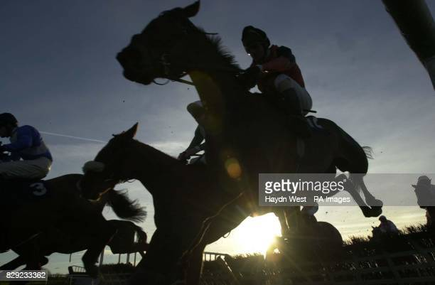 Surat Thani ridden by Collum Murphy jumps the last fence in the Mannix Dowdall Maiden Hurdle in bright weather at Navan Co Meath Ireland The race was...