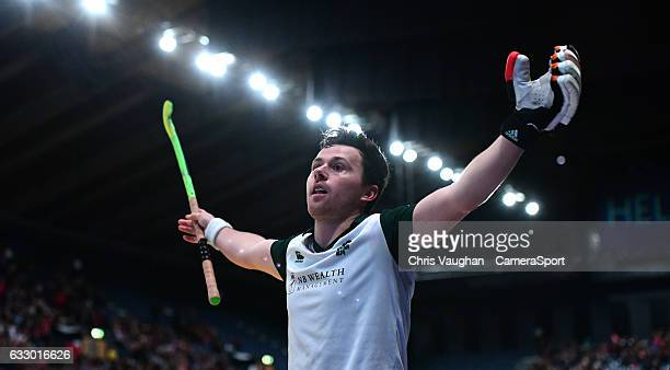 Surbiton's Alan Forsyth celebrates scoring his sides fourth goal during the Maxifuel Super Sixes Mens Final match between Surbiton and East Grinstead...