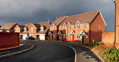 suburban housing estate. cul-de-sac in cannock in england with starter home town houses