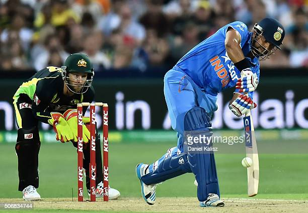 Suresh Raina of India bats during game one of the Twenty20 International match between Australia and India at Adelaide Oval on January 26 2016 in...