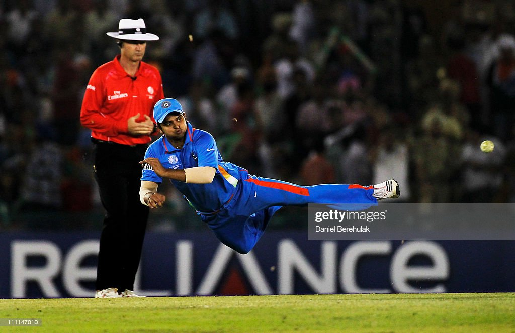 Suresh Raina of India fields during the 2011 ICC World Cup second Semi-Final between India and Pakistan at Punjab Cricket Association (PCA) Stadium on March 30, 2011 in Mohali, India.