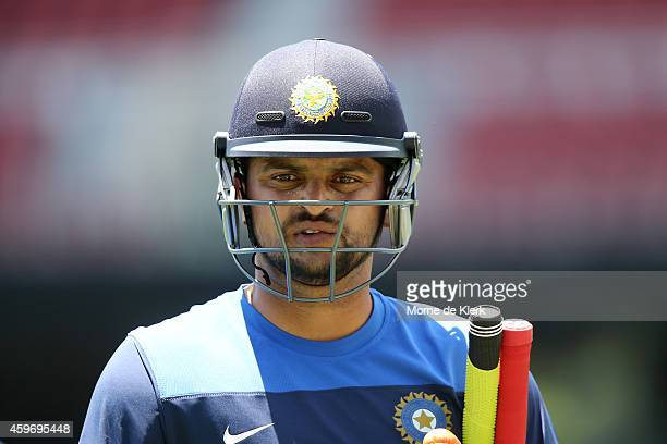 Suresh Raina of India looks on during an India training session at Adelaide Oval on November 29 2014 in Adelaide Australia