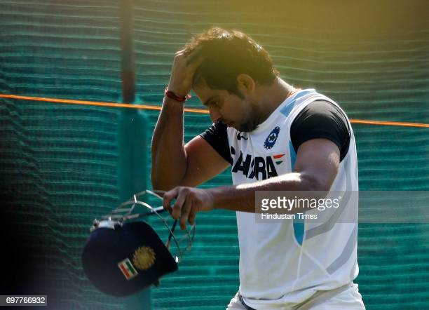 Suresh Raina of India practices at 3rd One day match of Airtel ODI series held at Sardar Patel Gujarat Stadium on Sunday in Ahmedabad
