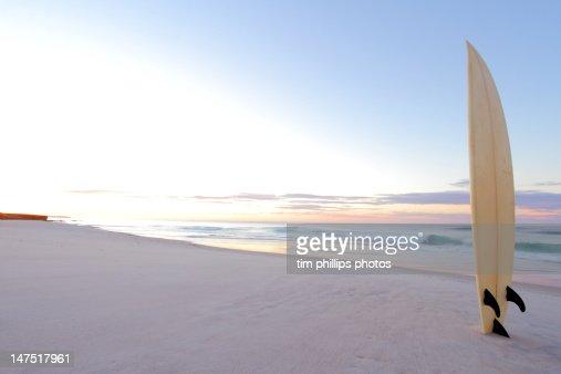 Surf board at beach : Stock Photo