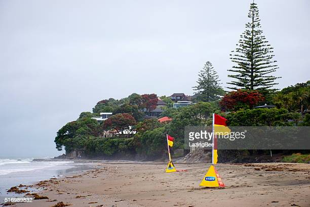 Surf Life Saving New Zealand (SLSNZ) Flags on Auckland Beach