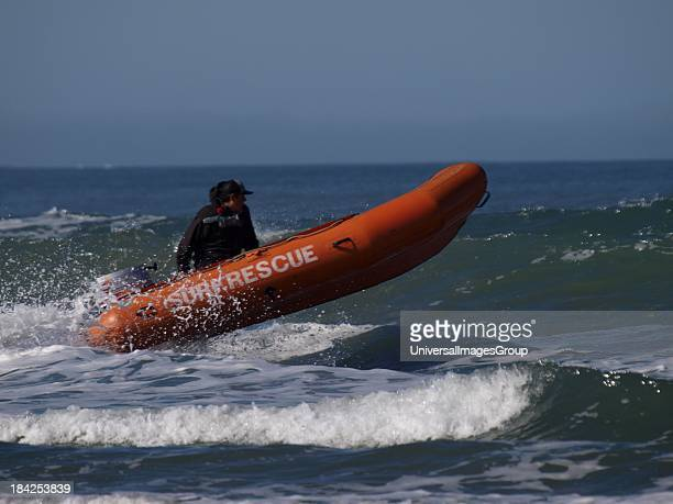 Surf Rescue boat in action UK