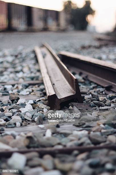Surface Level Of Abandoned Railroad Tracks On Field