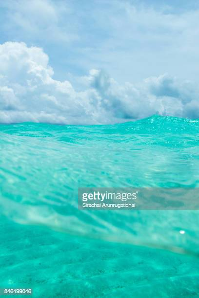 Surface level of clear water and blue sky
