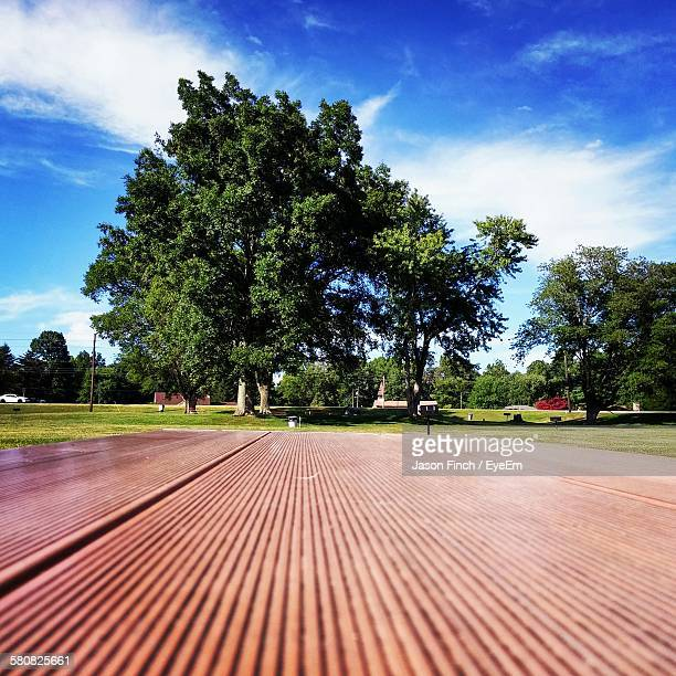 Surface Level Of Picnic Table With Trees Against Sky In Park