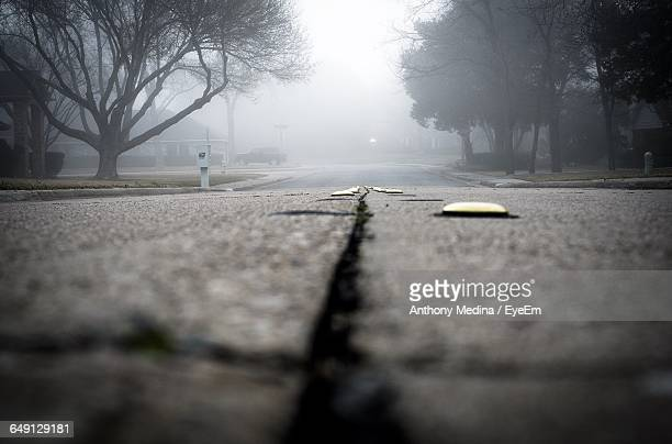 Surface Level Of Road During Foggy Weather
