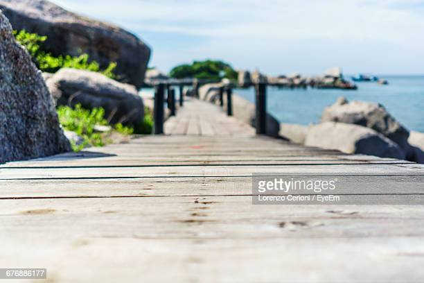Surface Level Of Wooden Boardwalk By Sea