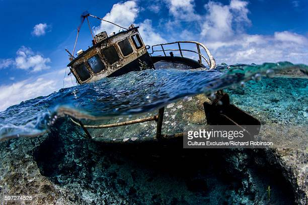 Surface level view of the longliner M/V Liberty shipwreck at Beveridge Reef, Niue, South Pacific