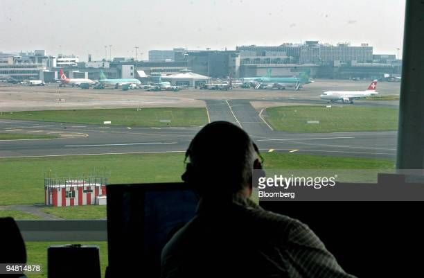 Surface movement controller John Kavanagh works in the Watch Tower of the Irish Aviation Authority's new Air Traffic Control Centre at Dublin Airport...