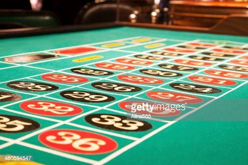 Surface of a roulette table inside the casino : Stock Photo