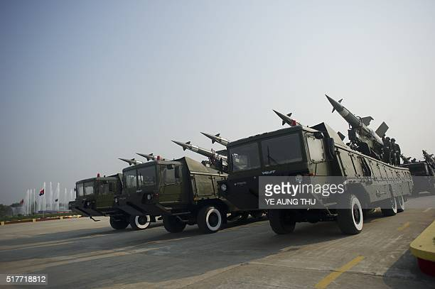 Surface to air missiles of the Myanmar military are paraded during a ceremony to mark the 71st Armed Forces Day in Myanmar's capital Naypyidaw on...