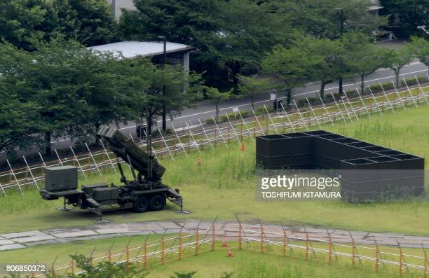 A PAC3 surfacetoair missile launch system is seen deployed at the defence ministry in Tokyo on July 4 2017 North Korea launched a ballistic missile...