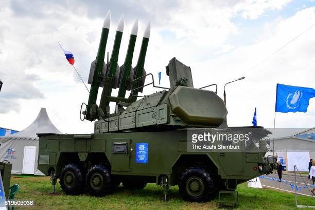 SurfacetoAir missle Buk is displayed during the MAKS2017 International Aviation and Space Salon on July 18 2017 in Zhukovskiy Russia
