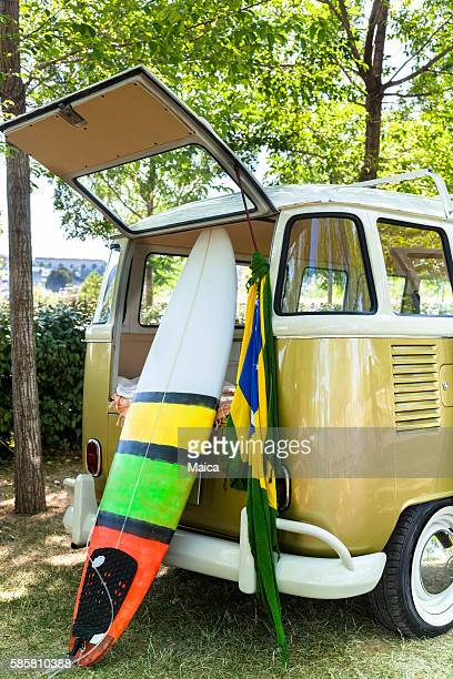 Surfboard and van