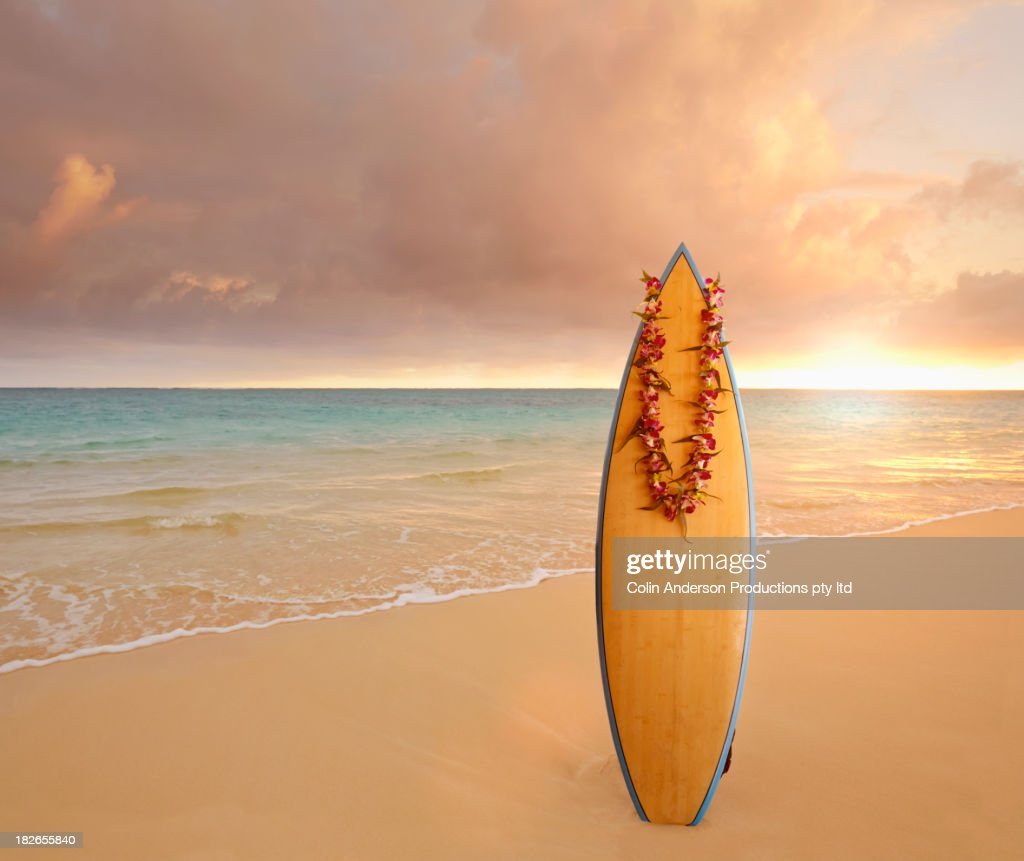 Surfboard wearing lei on tropical beach