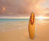 Surfboard wearing lei on tropical beach