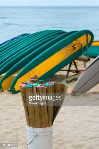 Surfboards on the beach, Waikiki Beach, Honolulu, Oahu, Hawaii Islands, USA : Foto de stock