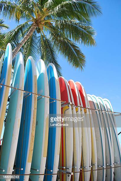 Surfboards on Waikiki Beach, Hawaii.