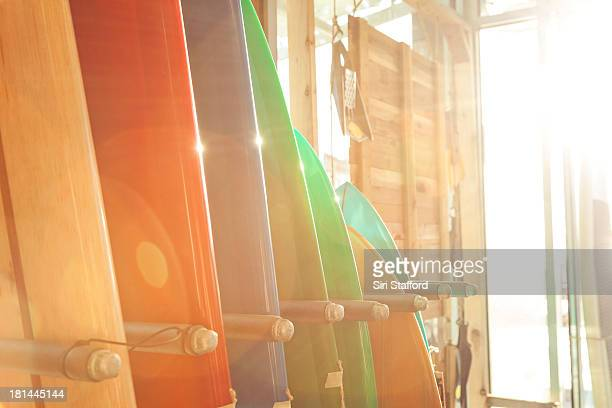Surfboards stacked up in a line in a rack
