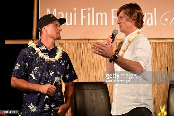 Surfer Aaron Gold and director Tim Bonython speak at the 'Celestial Cinema' during day two of the 2017 Maui Film Festival at Wailea on June 22 2017...