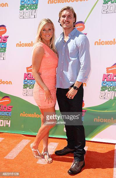 Surfer Bethany Hamilton and Adam Dirks attend the 2014 Nickelodeon Kids' Choice Sports Awards at Pauley Pavilion on July 17 2014 in Los Angeles...