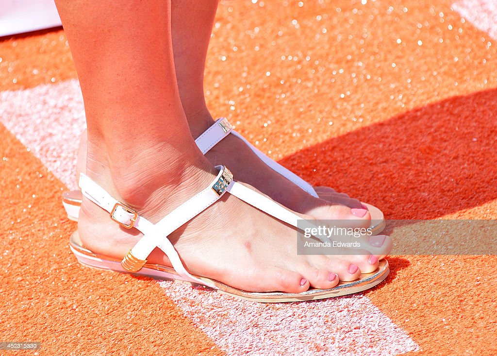 Surfer Bethany Hamilton (shoe detail) arrives at the Nickelodeon Kids' Choice Sports Awards 2014 on July 17, 2014 in Los Angeles, California.