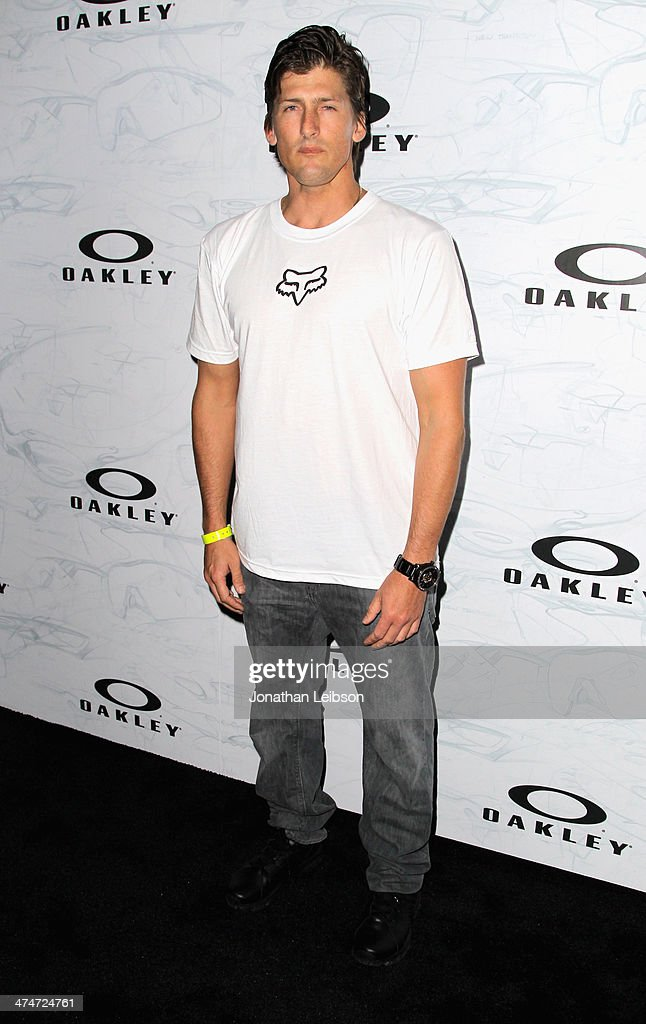 Surfer <a gi-track='captionPersonalityLinkClicked' href=/galleries/search?phrase=Bruce+Irons&family=editorial&specificpeople=642569 ng-click='$event.stopPropagation()'>Bruce Irons</a> celebrates the past, present and future of Oakley's design and technology at the brand's 'Disruptive by Design' global campaign launch event at RED Studios on February 24, 2014 in Los Angeles, California.