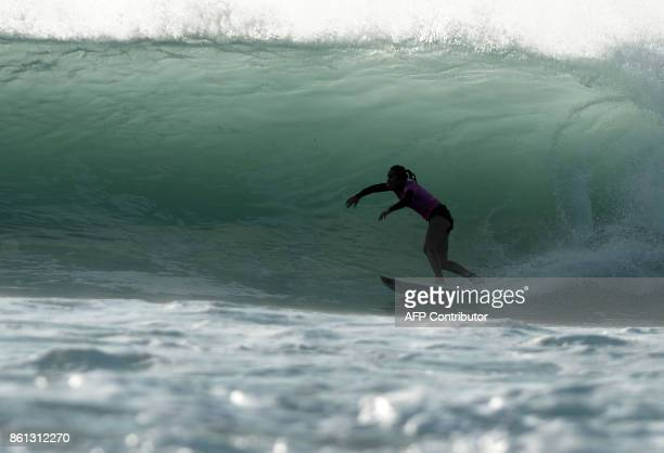 US surfer Carissa Moore competes in the final of the French stage of the World Surfing Championship 2017 Quiksilver Pro France in Hossegor on October...