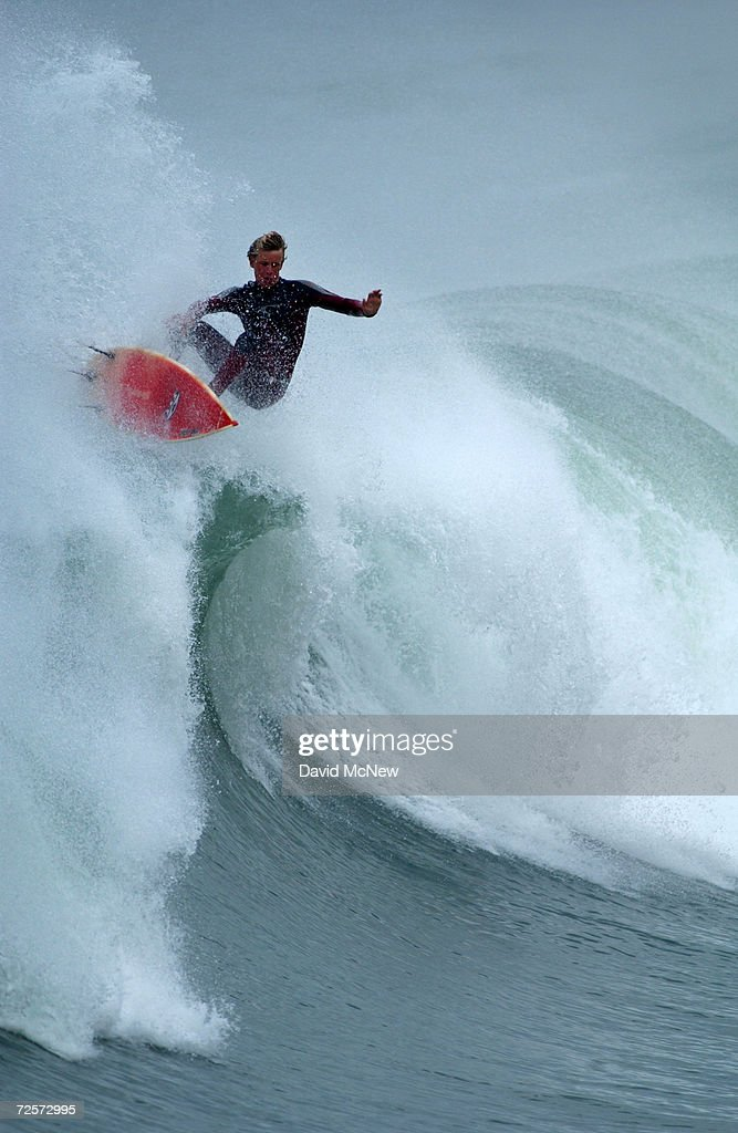 A surfer faces an unwanted drop off the lip of a large wave, January 9, 2002, in San Clemente, CA where waves rose to 12 feet. A Pacific storm pushing heavy surf onto the West Coast has reportedly produced the largest wave ever ridden by a female surfer, to the south in Ensenada, Mexico.