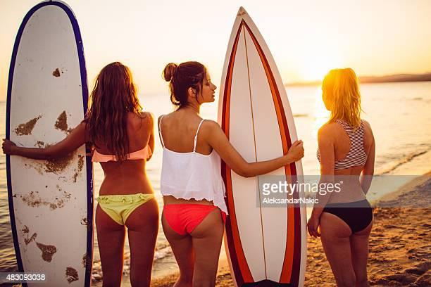 Surfer girls at sunset