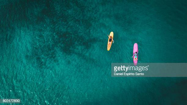 Surfer girls from above
