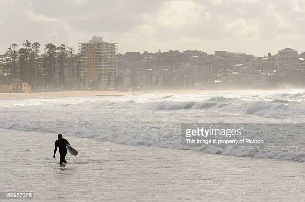 Surfer going out of the water at Manly Beach