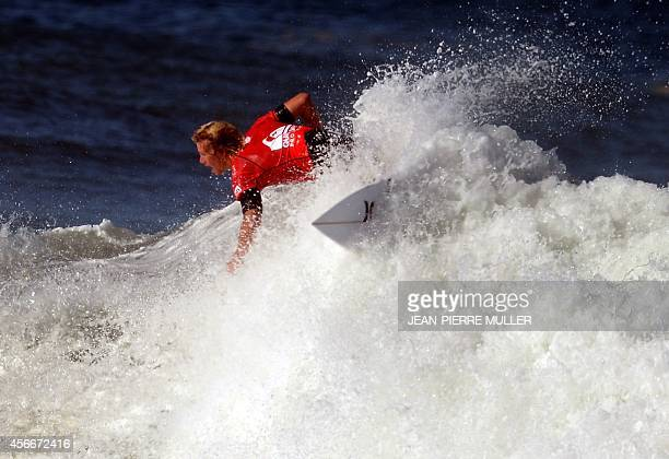 US surfer John John Florence competes during his Quicksilver Pro surfing championship final on October 5 2014 in Hossegor southwestern France AFP...