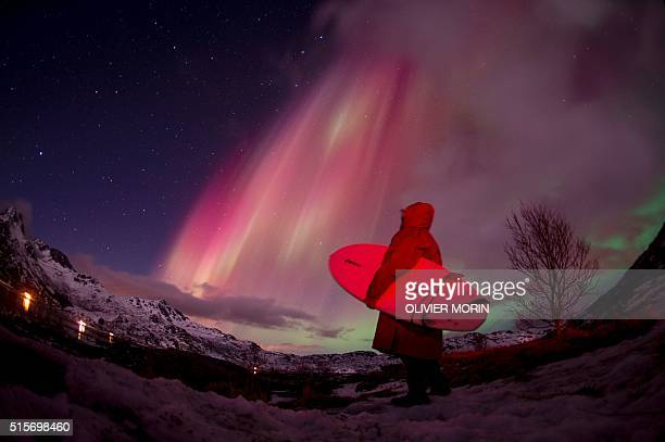 A surfer looks at the Northern lights illuminating the sky over the snow covered beach of Unstad on Lofoten Islands Arctic Circle on March 14 2016...