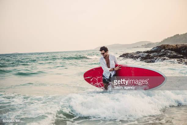 Surfer man in his heaven