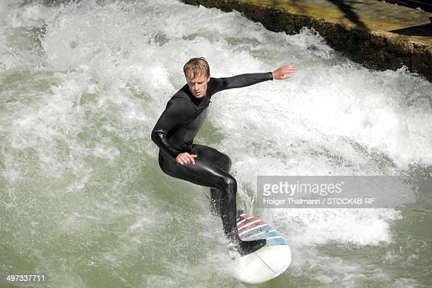 Surfer on Eisbach, Munich, Bavaria, Germany