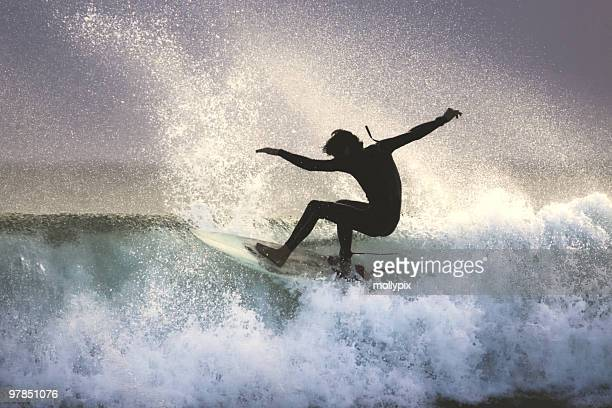 Surfer on the Lip of a Wave