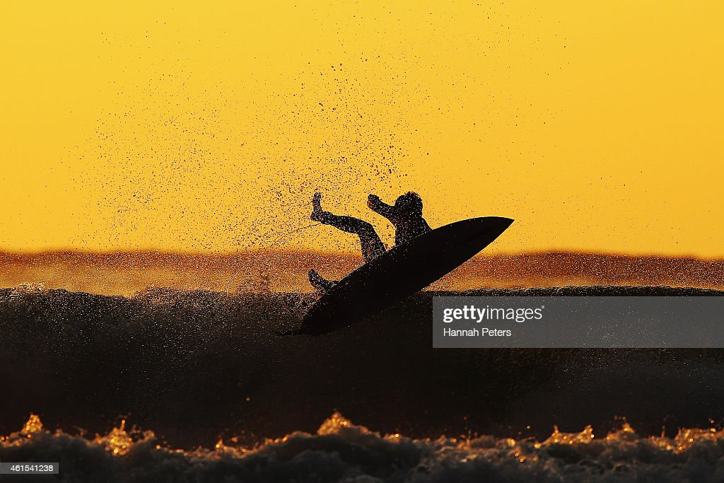 A surfer practices ahead of the New Zealand Surf Nationals at Piha Beach on January 09, 2015 in Auckland, New Zealand.