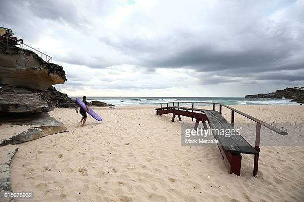 A surfer runs past a Sculpture at Sculpture By The Sea at Tamarama beach on October 20 2016 in Sydney Australia