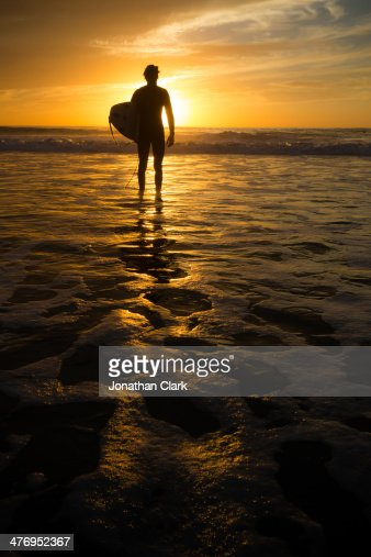 Surfer standing in the water at sunset : Stock Photo