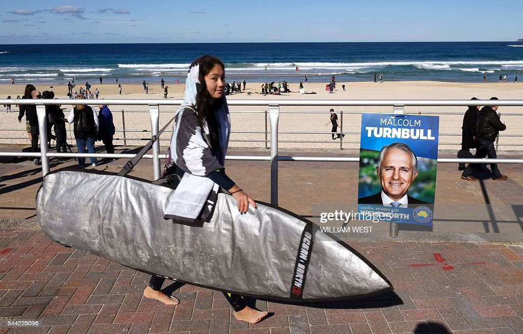 A surfer walks past an election placard outside a voting station in the Sydney suburb of Bondi Beach on July 2, 2016. Australians flocked to vote in the national election with conservative leader Malcolm Turnbull appearing to have a slight edge over Labor's Bill Shorten, culminating a marathon race where economic management has become a key issue in the wake of the Brexit vote. / AFP / WILLIAM